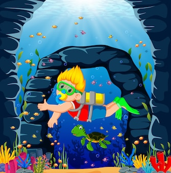 A boy using the red cloth is diving with the green turtle