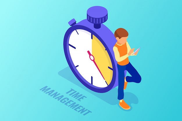 Boy using smartphone against clock isometric illustration