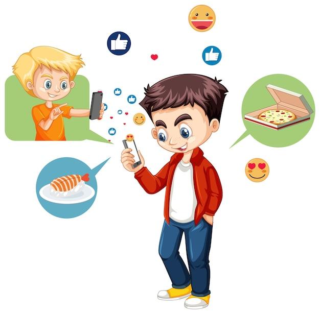 絵文字アイコンが白い背景で隔離のスマートフォンを使用している少年
