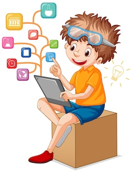 A boy using tablet for distance learning online