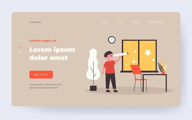 Boy using telescope and watching stars. happy kid, bedroom interior, glass flat vector illustration. childhood, explorer, discovery concept for banner, website design or landing web page