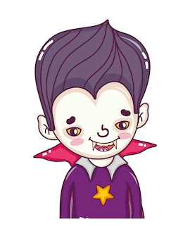 Boy vampire with teeth and gothic suit