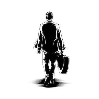 Boy walk with guitar view back illustration