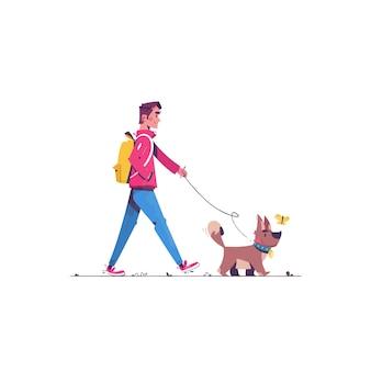 Boy walking with a dog  illustration