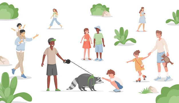 Boy walking with domestic racoon in city park flat illustration.