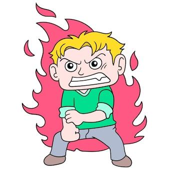 Мальчик эмоционально сдерживал горящий гнев, векторная иллюстрация искусства. каракули изображение значка каваи.