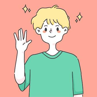 Boy waving hand greeting cute people illustration