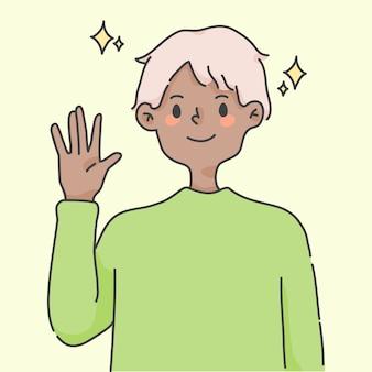 소년 흔들며 손 인사 귀여운 사람들 일러스트 레이션