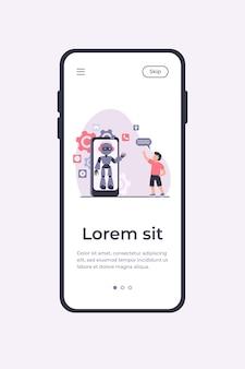 スマートフォンの画面でヒューマノイドに挨拶を振っている少年。チャットボット、仮想アシスタント、携帯電話のフラットベクトルイラスト。テクノロジー、バナー、ウェブサイトのデザイン、またはランディングウェブページの子供の頃のコンセプト