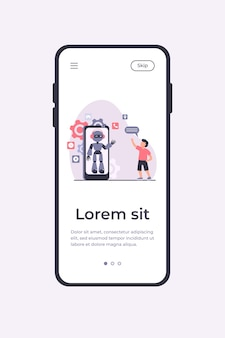 Boy waving hello at humanoid on smartphone screen. chat bot, virtual assistant, mobile phone flat vector illustration. technology, childhood concept for banner, website design or landing web page