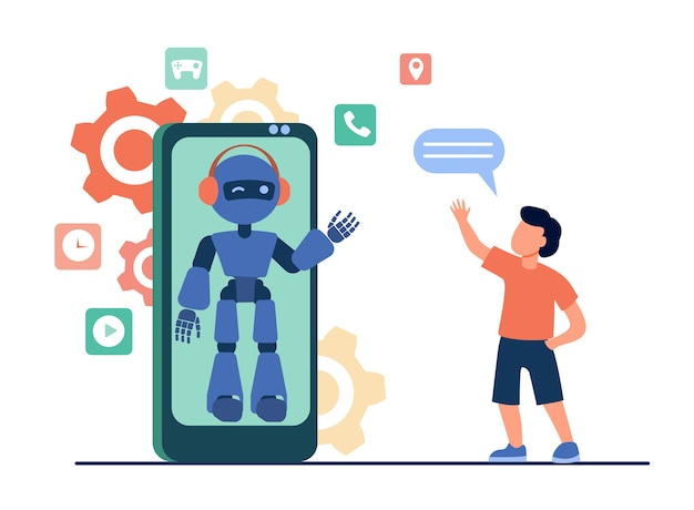 Boy waving hello at humanoid on smartphone screen. chat bot, virtual assistant, mobile phone flat vector illustration. technology, childhood