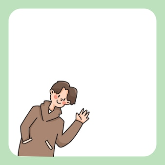 Boy waving notepad cute cartoon illustration