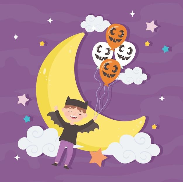 Boy wear bat costume in night halloween