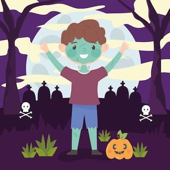 Boy wear costume monster halloween celebration