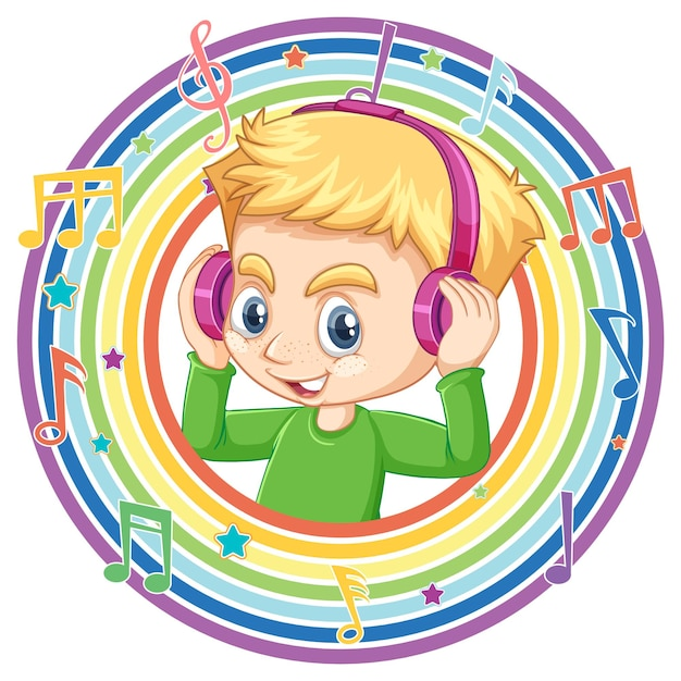 少年はメロディーのシンボルと虹の丸いフレームでヘッドフォンを着用します