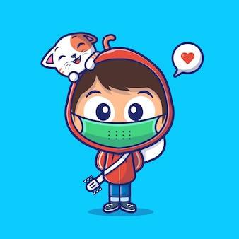 Boy wear mask with cat cartoon icon illustration. cat lover mascot character. people icon concept isolated