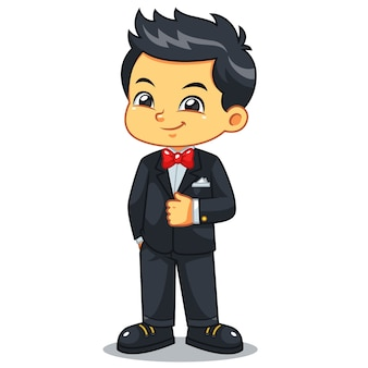 Boy wearing black tuxedo and red bowtie.