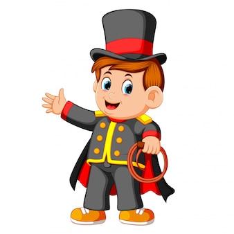 The boy wearing costum magician