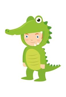 A boy wearing crocodile costume at the school carnival