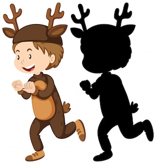 Boy wearing deer costume with its silhouette Free Vector
