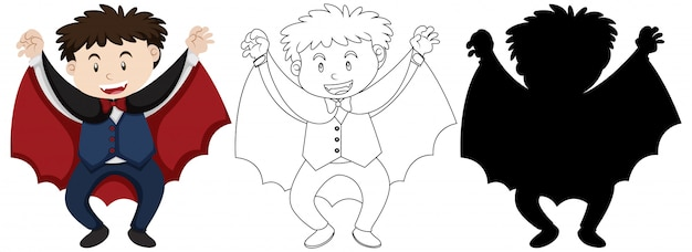 Boy wearing dracular costume with its outline and silhouette