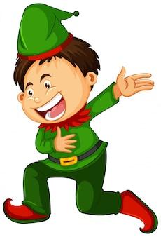 A boy wearing elf costume