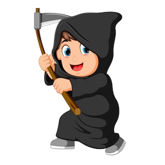 Boy wearing grim reaper costume with scythe