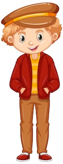 Boy wearing hat and red jacket on white