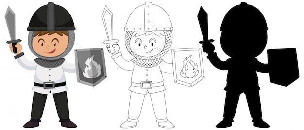 Ragazzo che indossa il costume da cavaliere con il suo profilo e la silhouette