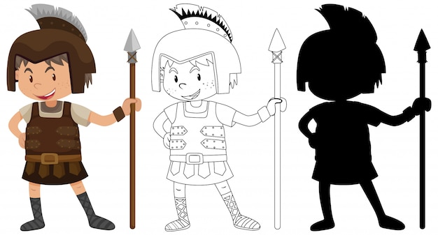 Мальчик в костюме рыцаря с его силуэтом и контуром