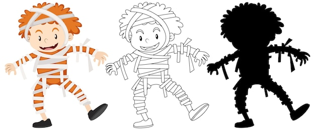 Boy wearing mummy costume in colour and outline and silhouette