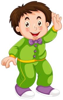 A boy wearing pajamas