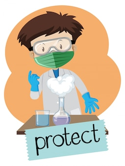 Boy wearing protection items in lab