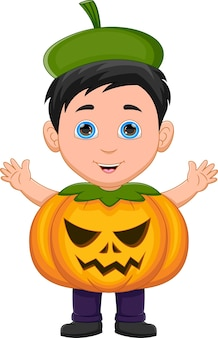 Boy wearing pumpkin costume waving