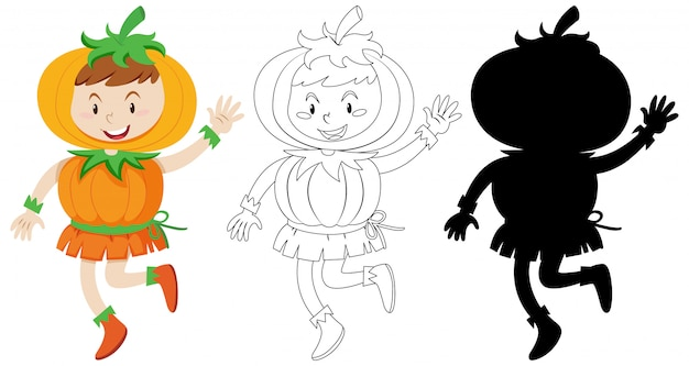 Boy wearing pumpkin costume with its silhouette