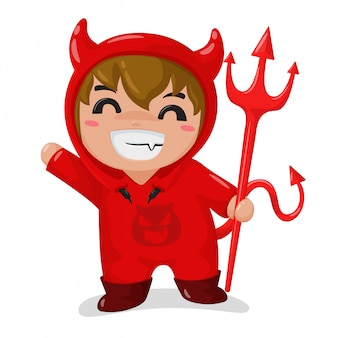 The boy wearing a red devil costume happy in the halloween party
