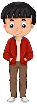 白地に赤いジャケットを着ている少年