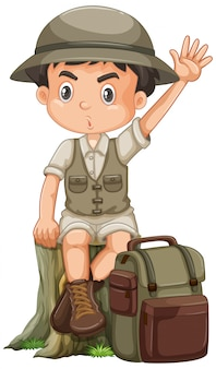 Boy wearing safari outfit on white background