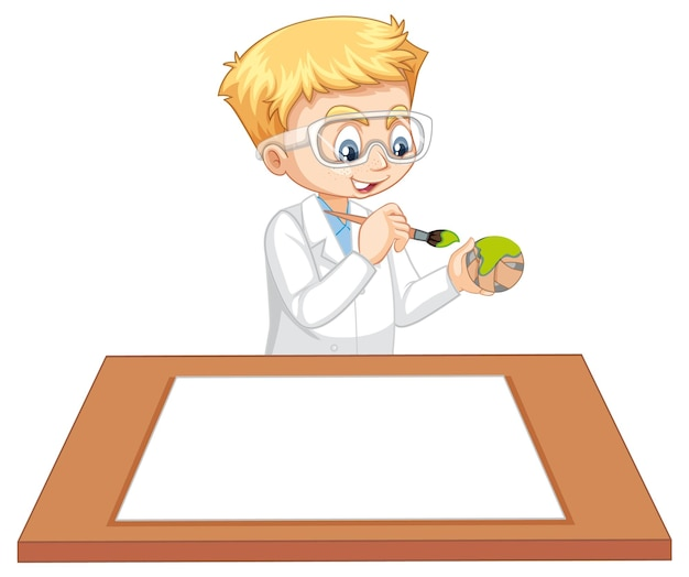 Un ragazzo che indossa un camice da scienziato con della carta vuota sul tavolo