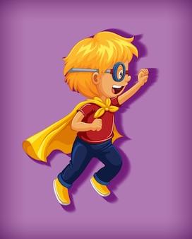 孤立した立っている位置の漫画のキャラクターの肖像画で首を絞めのスーパーヒーローを着ている少年