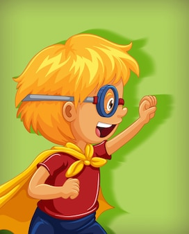 Boy wearing superhero with stranglehold position cartoon character portrait isolated
