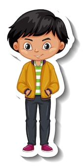 A boy wears bomber jacket cartoon character sticker
