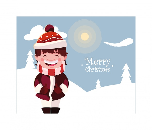 Boy in winter landscape with merry christmas lettering