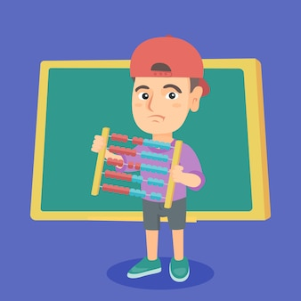 Boy with abacus with green blackboard.