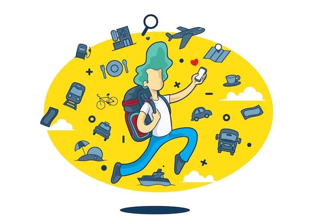 Мальчик с задним фоном и значками путешествий