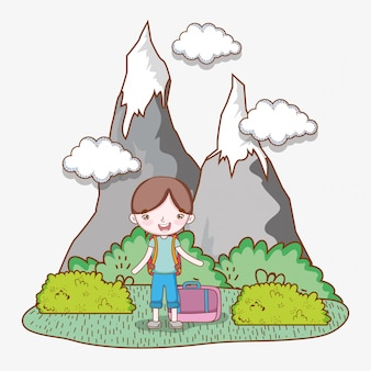 Boy with baggage in the ice mountains with clouds