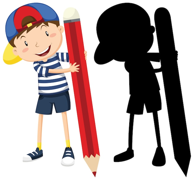 Boy with big pencil in color and silhouette