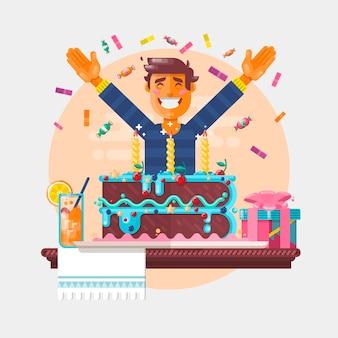 誕生日のカップケーキを持つ少年。子供の誕生日。ベクトル図