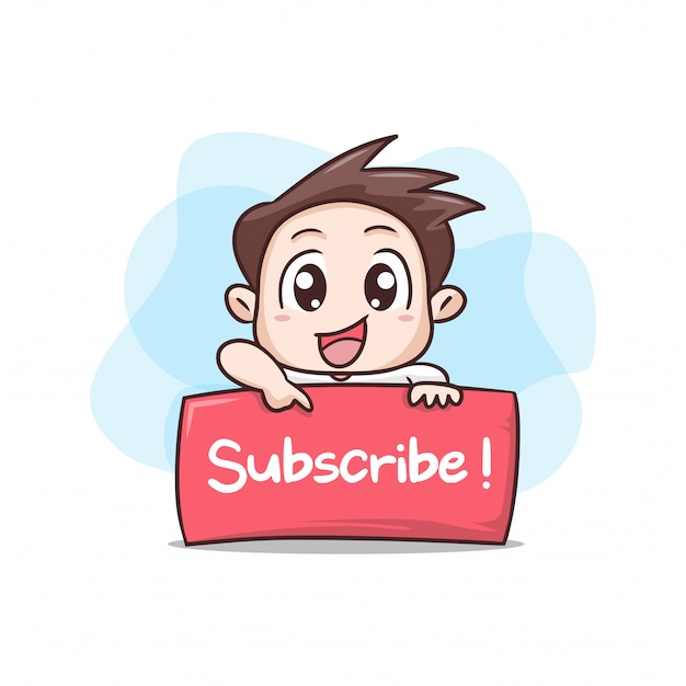 Boy with board sign subscribe illustration