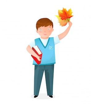 本と葉のフラットイラストを持つ少年